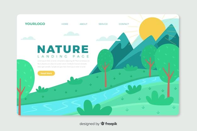 Modelo de web de página de destino corporativo com design de tema de natureza