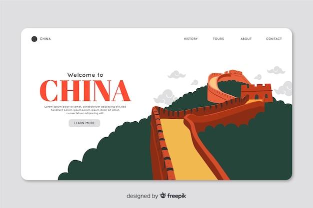 Modelo de web de página de destino corporativo para a agência de agências de turismo na china