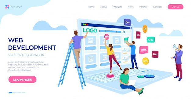Modelo de web de página de destino de desenvolvimento web. equipe de projeto de engenheiros para criar site