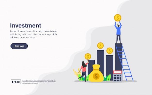 Modelo de web de página de destino de investimento
