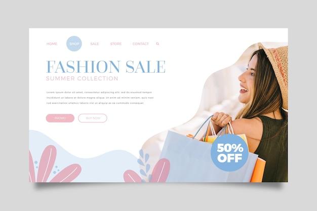 Modelo de web de página de destino de venda de moda