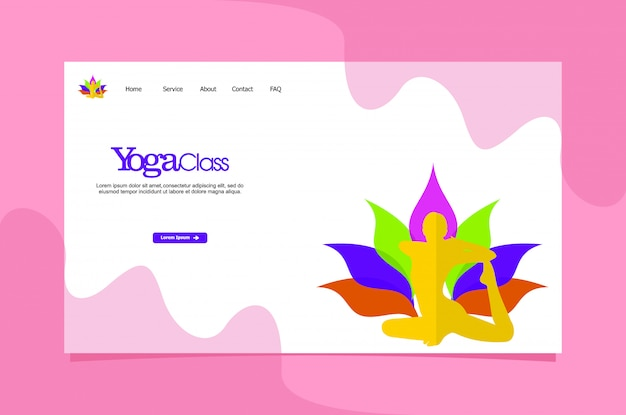 Modelo de web de página de destino do yoga