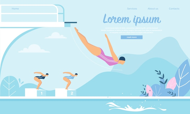 Modelo de web de página de destino para a competição de natação com jovens esportistas pulando na água