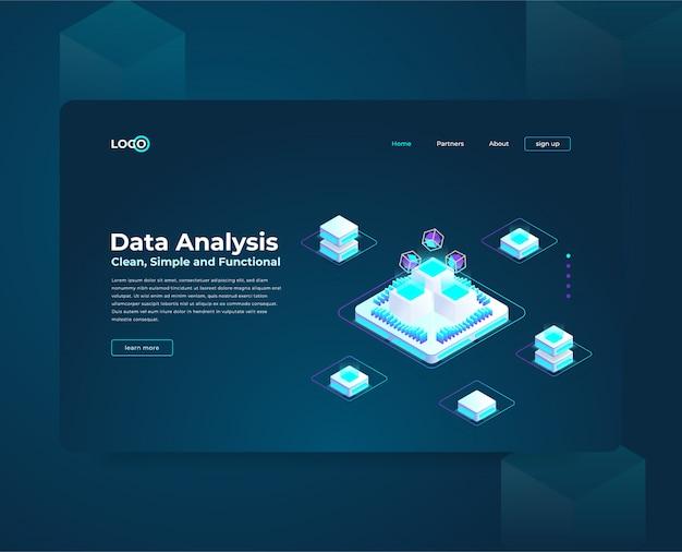 Modelo de web de página de destino para composição isométrica de cryptocurrency e blockchain, analistas e gerentes que trabalham em inicialização de criptografia, analistas de dados