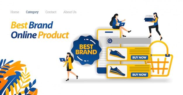 Modelo de web de página de destino para compras on-line ecommerce