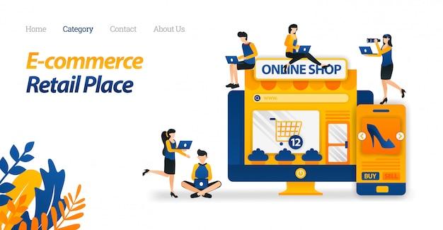 Modelo de web de página de destino para e-commerce facilita a compra de qualquer lugar na tela. compre muitos produtos em muitas lojas e varejo.