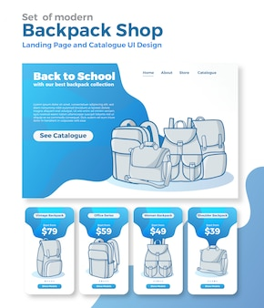 Modelo de web de página de destino para loja on-line de comércio eletrônico