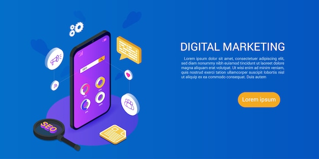 Modelo de web de página de destino para o conceito de marketing de mídia digital