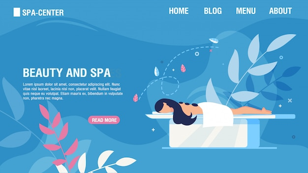 Modelo de web de página de destino que oferece serviços de beleza e spa