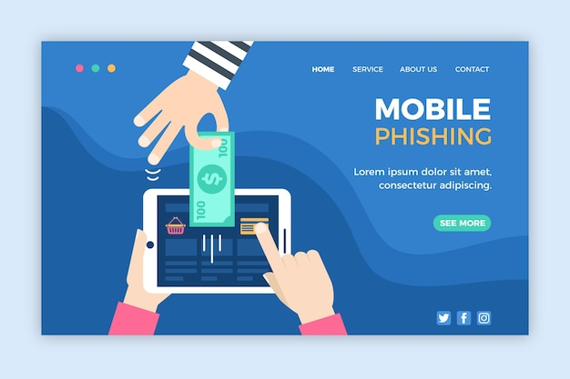 Modelo de web de phishing para celular