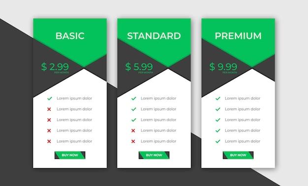 Modelo de web de planos de tabela de preços de negócios elegantes