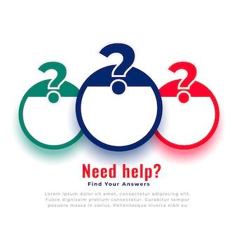 Modelo de web de ponto de interrogação de ajuda e suporte