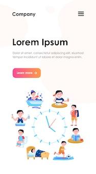 Modelo de web de relógios de rotina diária infantil. cronograma de desenho animado da vida de menino feliz, desde tomar café da manhã, ir à escola e dormir