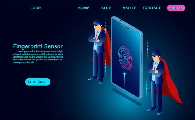 Modelo de web de sensor de impressão digital de login no telefone de tela