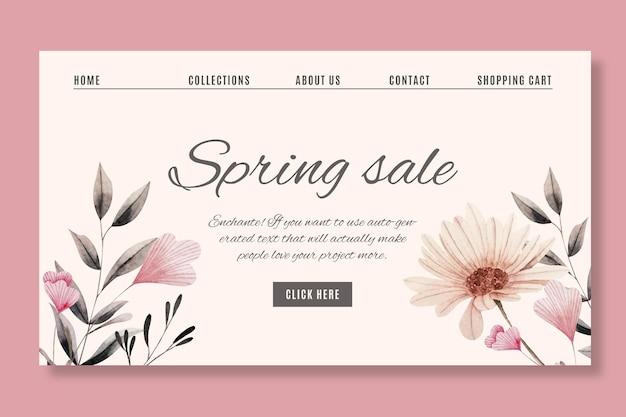 Modelo de web de venda de aquarela primavera