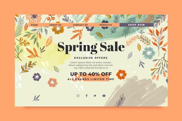 Modelo de web de venda de primavera desenhado à mão