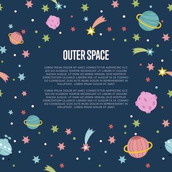 Modelo de web de vetor de desenho de espaço sideral