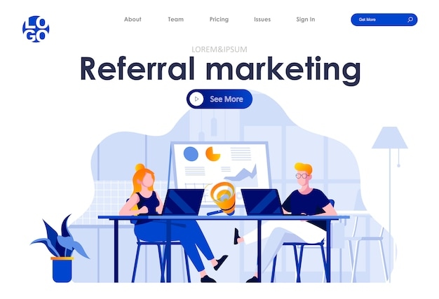 Modelo de web design de página de destino plana de marketing de referência