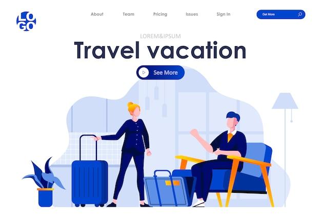 Modelo de web design de página de destino plana de viagens e férias