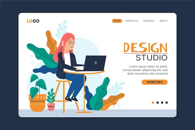 Modelo de web designer gráfico ilustrado