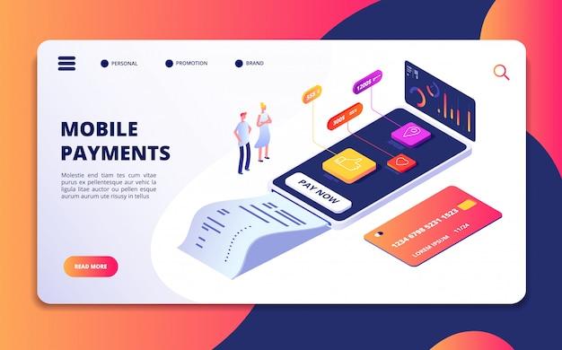 Modelo de web isométrica de pagamento on-line