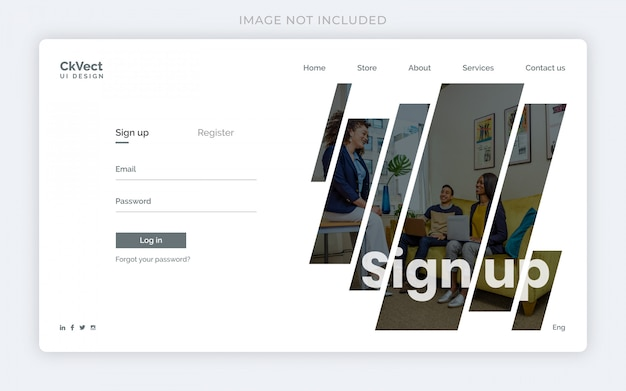 Modelo de web limpa moderna inscrever formulário ou landing page design com foto