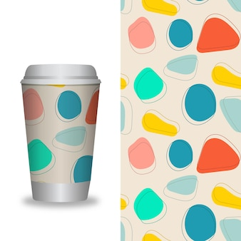 Modelo de xícara de café com padrões