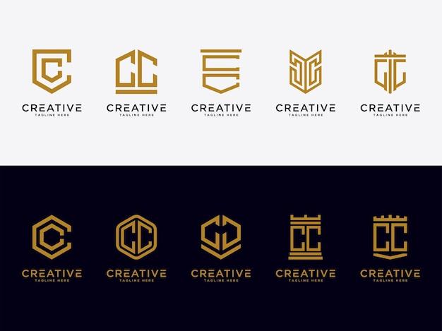 Modelo defina as letras iniciais do ícone do logotipo cc