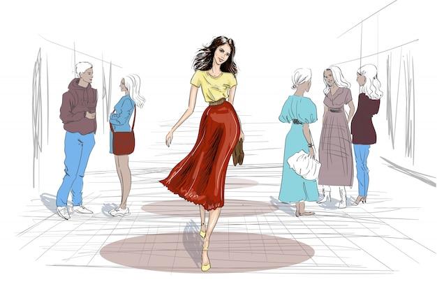 Modelo desenhado à mão andando pessoas jogar