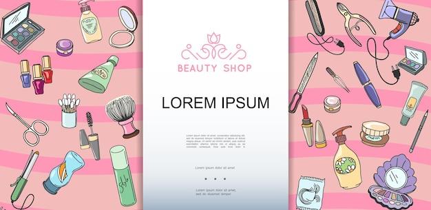 Modelo desenhado à mão colorida para salão de beleza com ilustração de maquiagem e produtos cosméticos