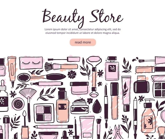 Modelo desenhado à mão com cosméticos para maquiagem e beleza