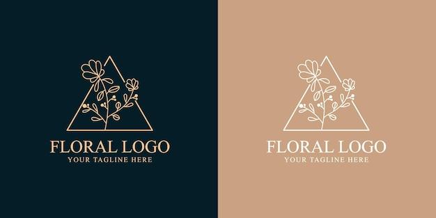 Modelo desenhado à mão de beleza feminina e logotipo botânico floral para cuidados com os cabelos e pele de salão de spa