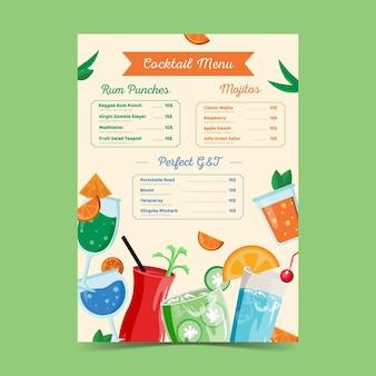 Modelo desenhado à mão de menu de cocktails