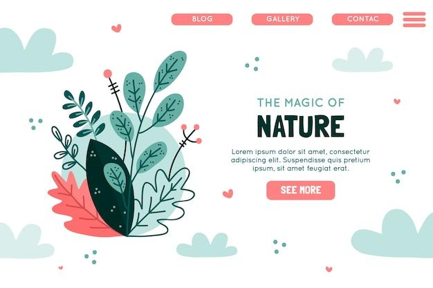 Modelo desenhado à mão de página de destino da natureza