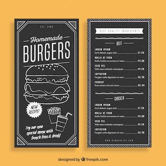 Modelo desenhado à mão para o menu de hambúrguer