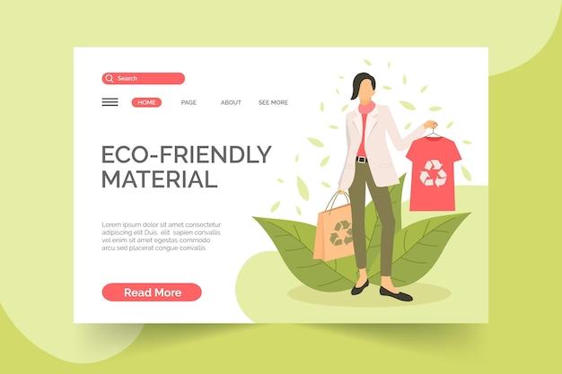 Modelo desenhado de página de destino de moda sustentável