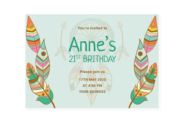 Modelo detalhado de convite de aniversário boho