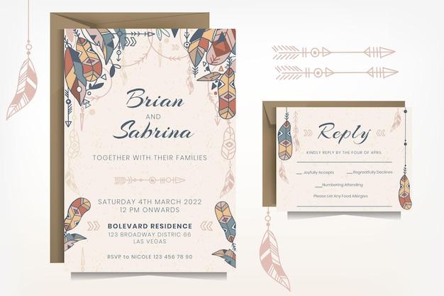 Modelo detalhado de convite de casamento boho