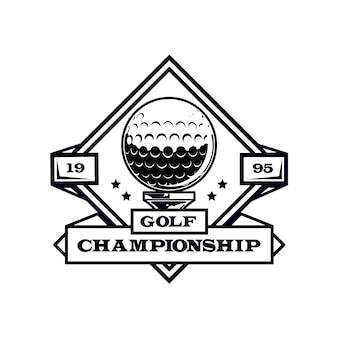 Modelo detalhado de logotipo vintage de golfe