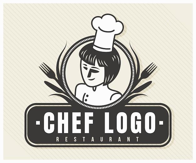 Modelo detalhado do logotipo da chef feminina