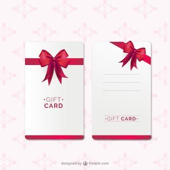 Modelo do cartão de presente com fita vermelha