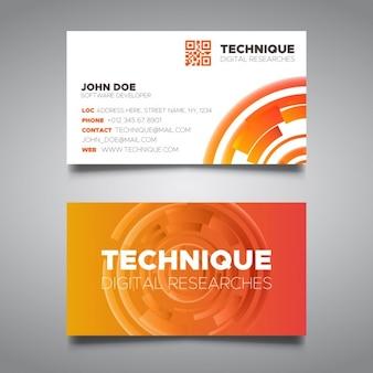Modelo do cartão de tecnologia de laranja