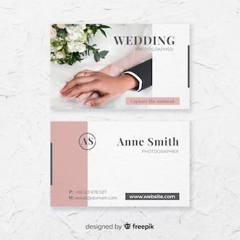 Modelo do cartão de visita da fotografia do casamento
