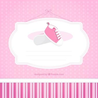 Modelo do cartão do chá de fraldas cor de rosa