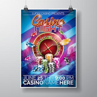 Modelo do cartaz da noite do casino