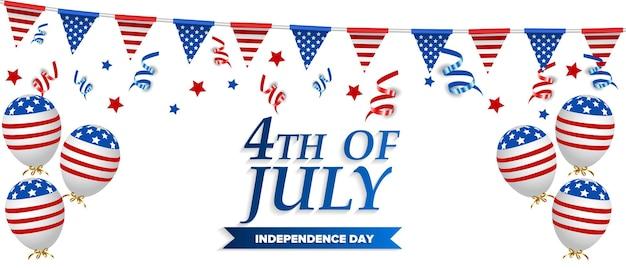 Modelo do dia da independência dos eua. decoração de balões de bandeira americana. 4 de julho