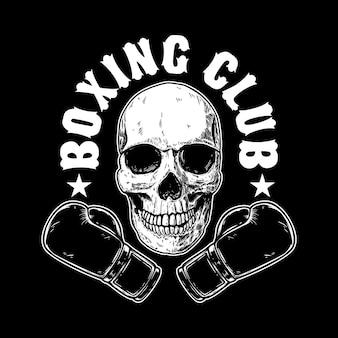 Modelo do emblema do clube de boxe. crânio humano com luvas de boxe. elemento de design para cartaz, cartão, banner, sinal, emblema, etiqueta. ilustração vetorial