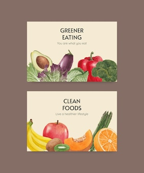 Modelo do facebook com conceito de comida saudável, estilo aquarela