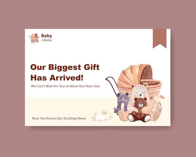 Modelo do facebook com conceito de design do chuveiro de bebê para mídias sociais e ilustração vetorial aquarela marketing online.