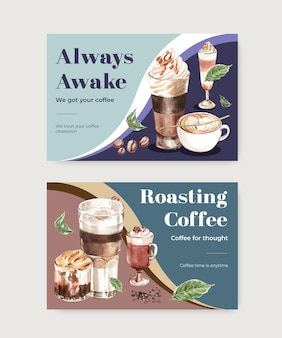 Modelo do facebook com conceito de estilo de café coreano para mídia social e aquarela de marketing online